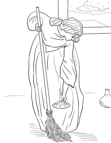 The Lost Coin Parable coloring page from Jesus' parables