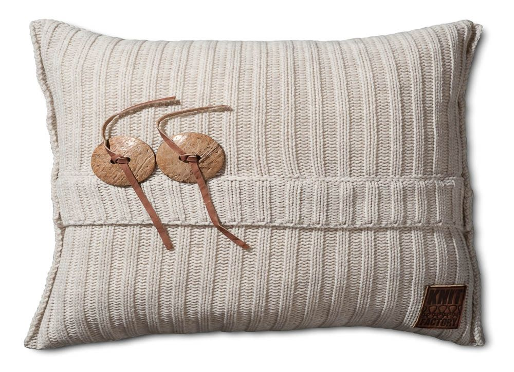 Gebreid kussen aran beige 60x40 beige pillows and modern
