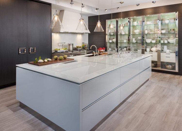 Sleek White Sea Glass Kitchen Countertop By Haifa Limestone