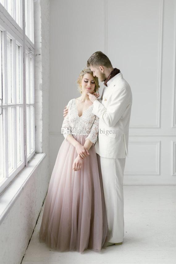 Three Quarters Sleeves Floor Length Blush Tulle Summer Wedding Dress ...