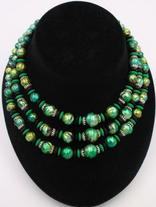 Vintage Japan Green Black MultiStrand Collar Necklace
