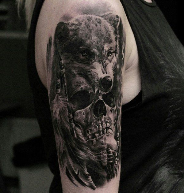 a175aa342 100 Awesome Skull Tattoo Designs | Black and gray tattoos | Wolf ...