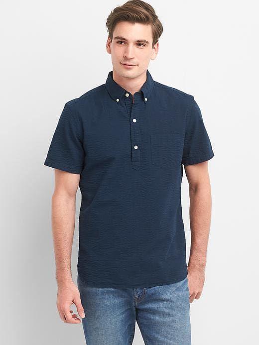 e415349bc9c Gap Mens Seersucker Short Sleeve Popover Shirt Navy