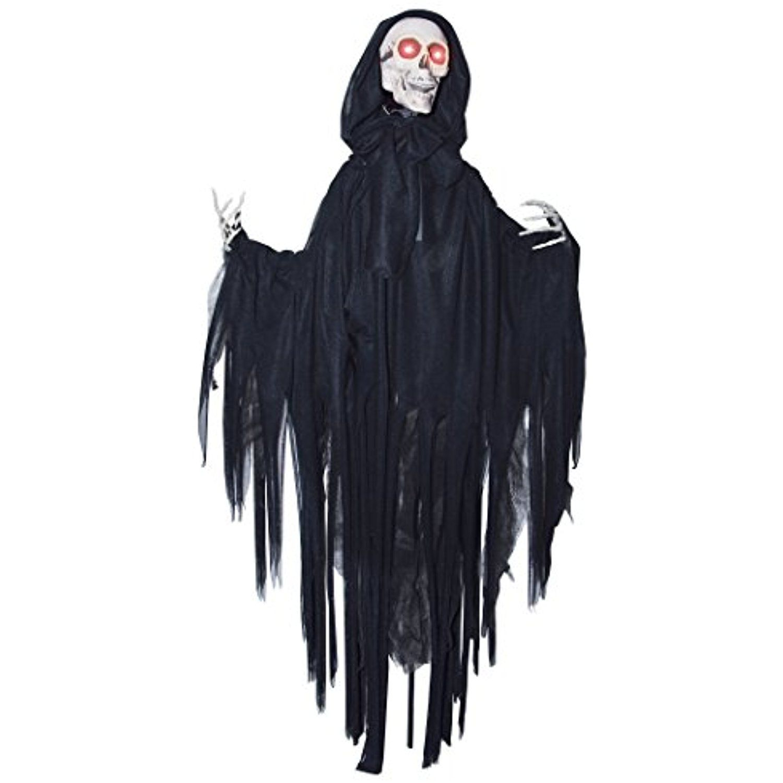Animated Head Dropping Black Reaper Skeleton Hanging
