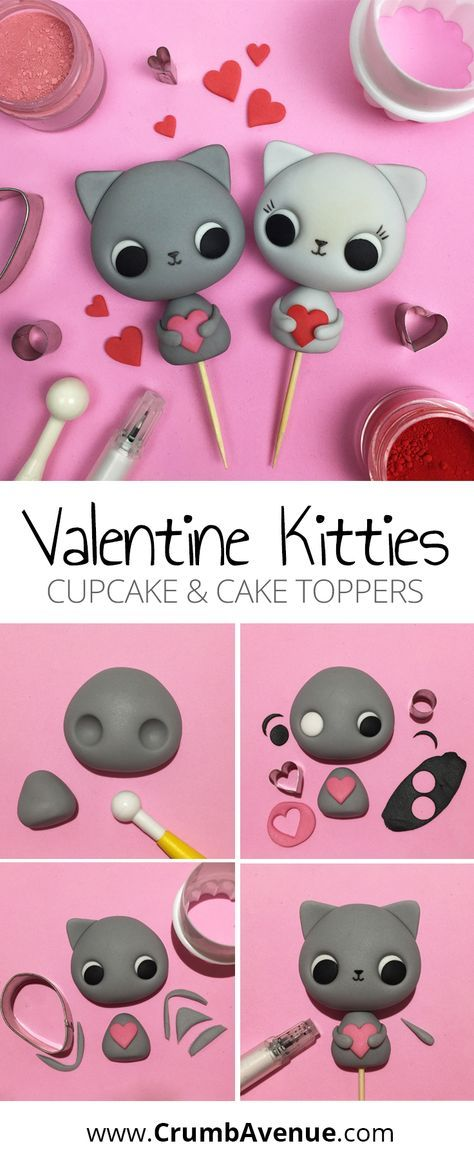 Easy to follow cake topper tutorials | Tutorials | Valentine Kitties