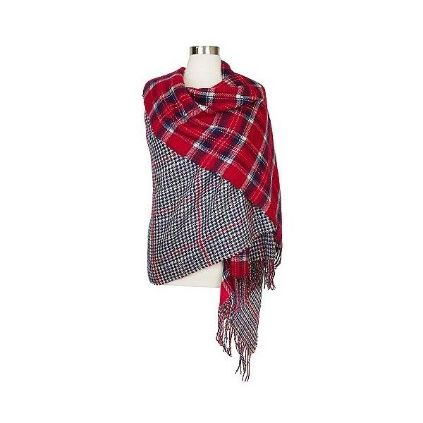 d2da4cbd46a23 Women's Oversized Reversible Plaid Blanket Wrap Scarf - Red and Blue (1,595  INR) ❤