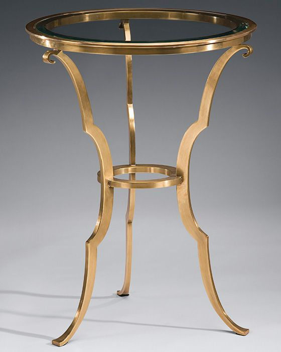 Round Hand Cast Solid Brass Table In Antique Finish. Occasional Table Has  Clear Beveled Glass Top