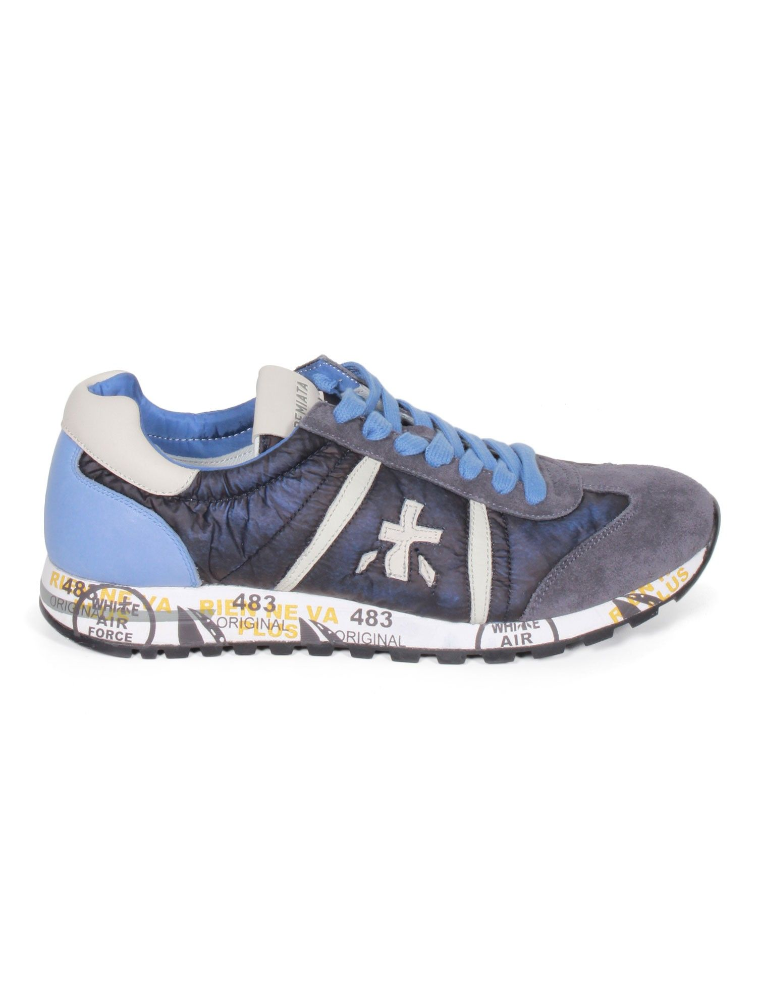 PREMIATA White Lucy men's sneakers in washed dark blue nylon with details  in leather and nubuck.