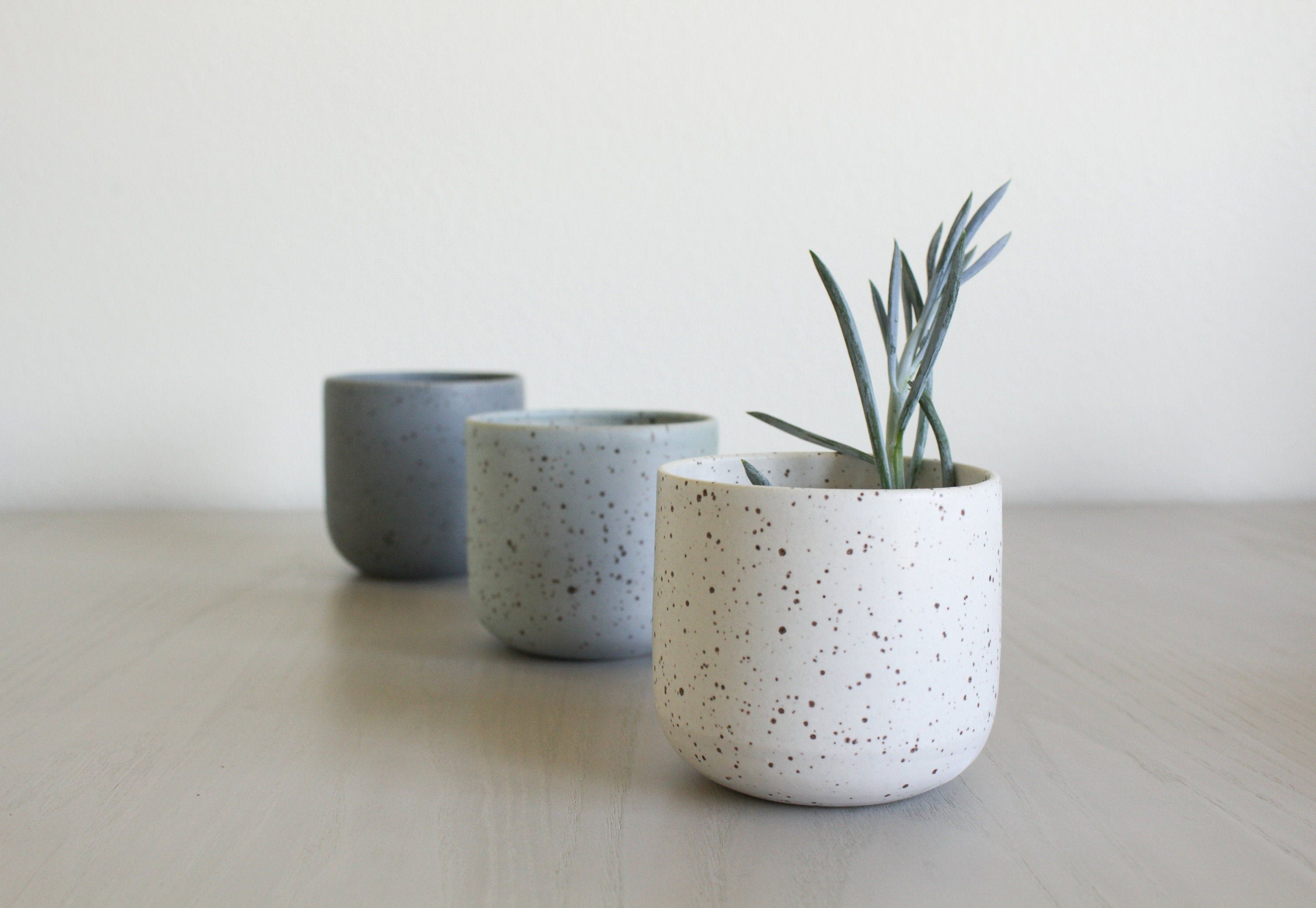 Cord X Clay Speckled Ceramic Planter Pottery Clay Flower Pot White Grey Blue Rustic Modern Handmade Ceramic Planters Handmade Plant Clay Flower Pots