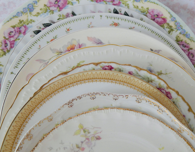 Custom Order Service For 8 Vintage Mismatched China Dinner Plates