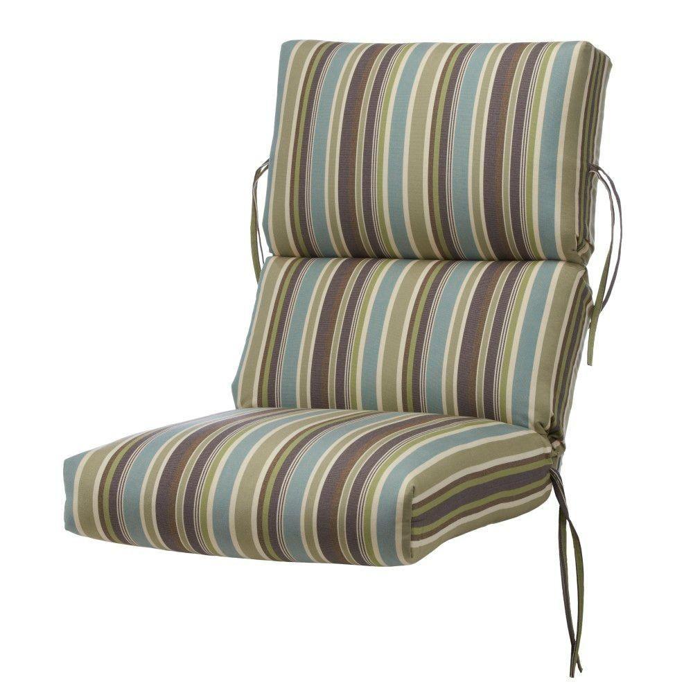Beautiful Home Decorators Collection Brannon Whisper Sunbrella Bull Nose High Back  Outdoor Chair Cushion