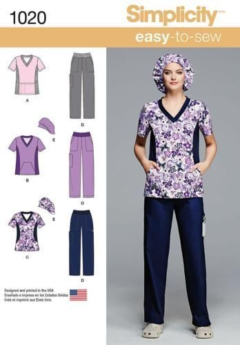Simplicity Easy Sewing Pattern 1020 Misses Or Womens Scrubs Scrub