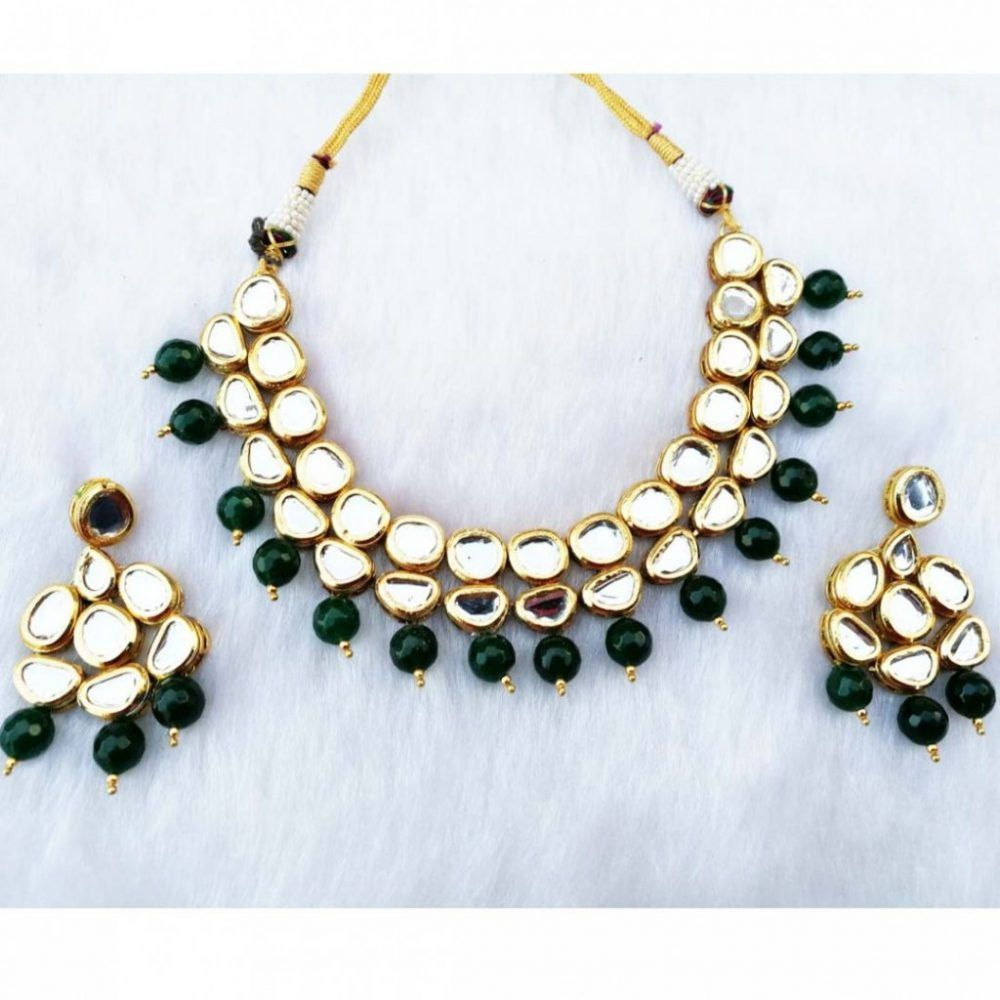 7f7e23fd350 Latest Jewellery Designs Green Kundan Necklace Set FK003 Price  30.50    FREE Shipping  life  indozstyle  amazing