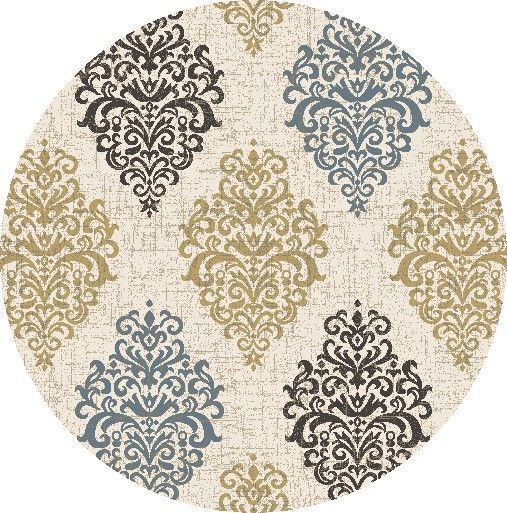 Concord Global Trading New Casa Damask Ivory / Yellow Area Rug