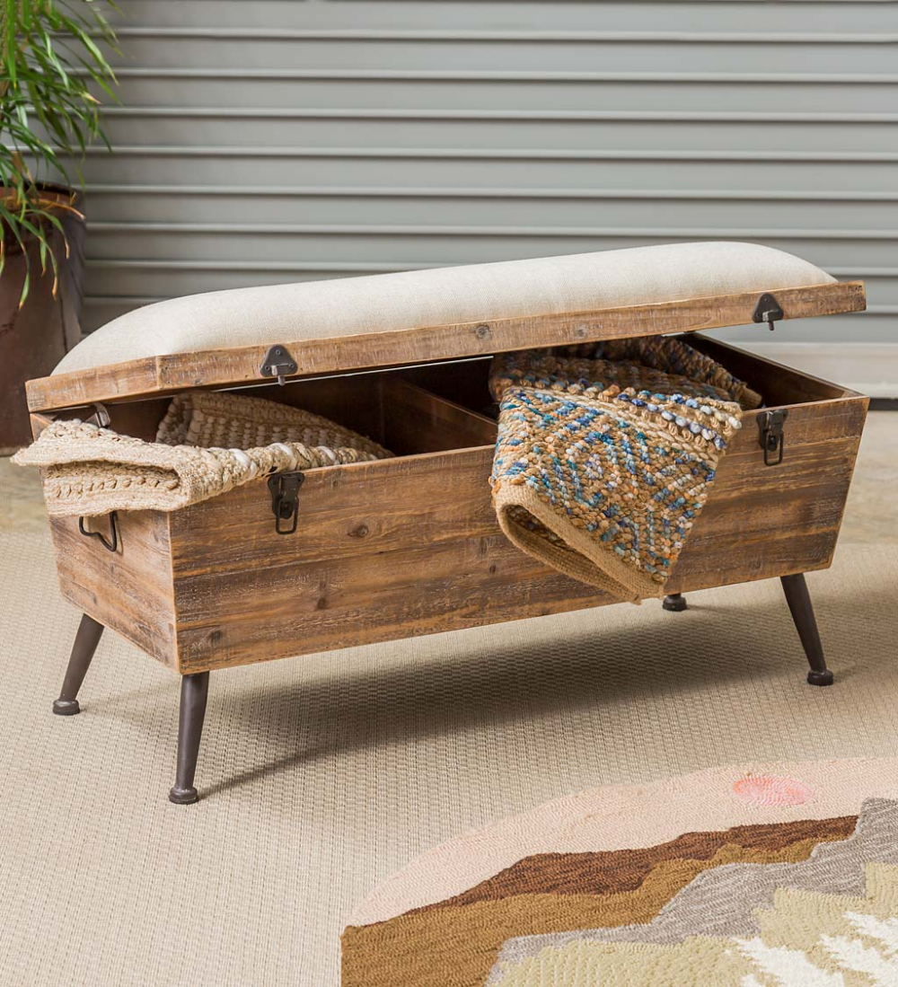 Rustic Wooden Storage Bench with Cushion Top  Storage bench with