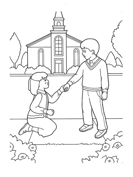 A black-and-white illustration of a boy helping a girl to stand up ...
