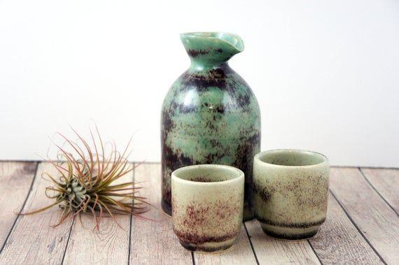 Asian Green Stoneware Sake Cup Set Jade Collection Ready To Ship Ceramic Barware Wheel Thro Cupping Set Stoneware Thrown Pottery