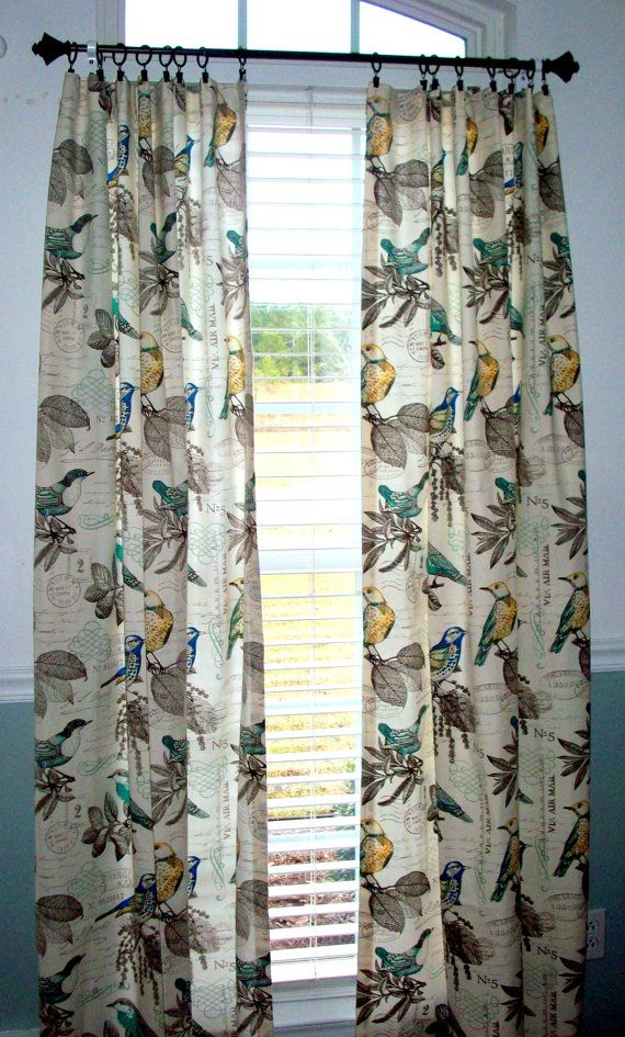 Custom Drapery Panels 2 84 96108 RICHLOOM Natural Teal Yellow Bird 1 Pair Of Window Curtains With Birds
