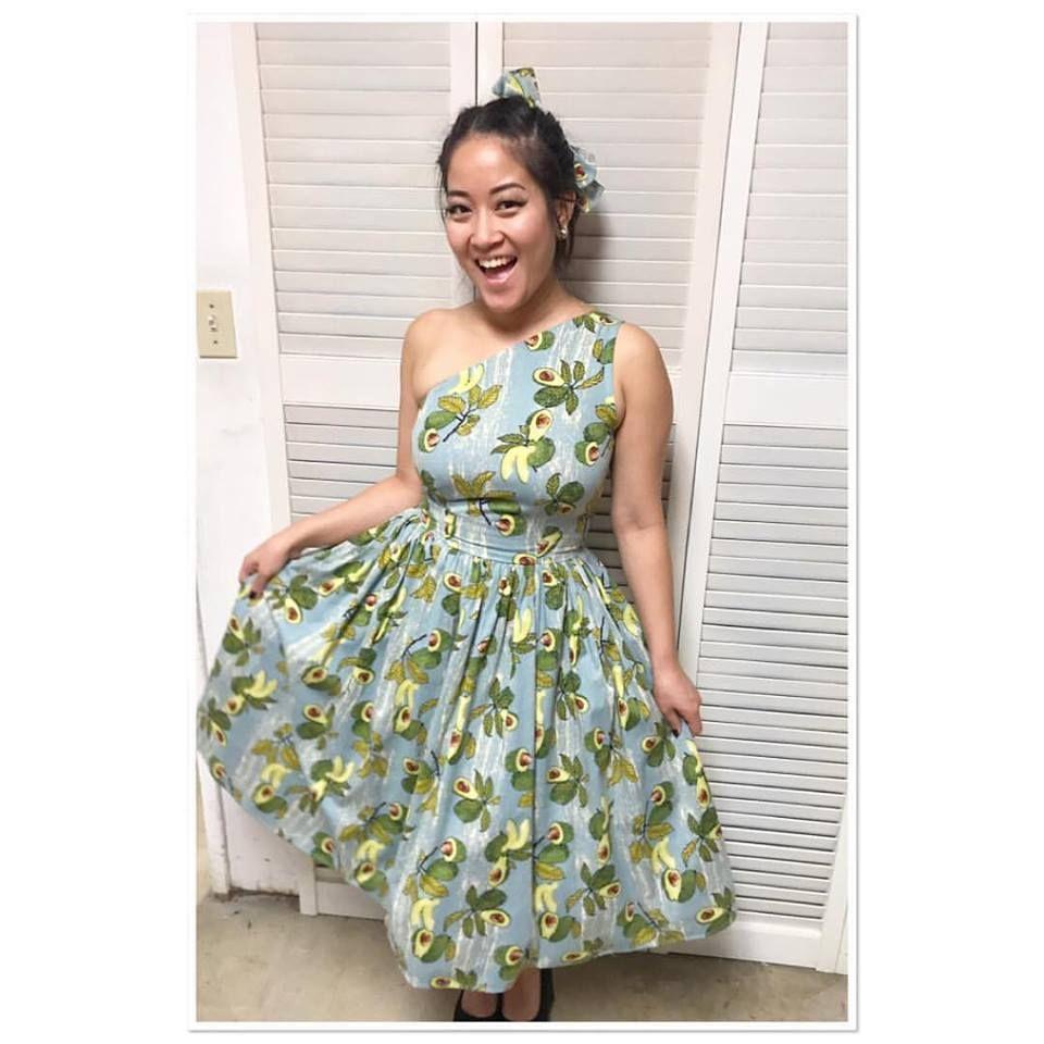 Bettie Page Kitch Vintage Inspire Avocado Rockabilly Green Blue Swing Skirt S-XL
