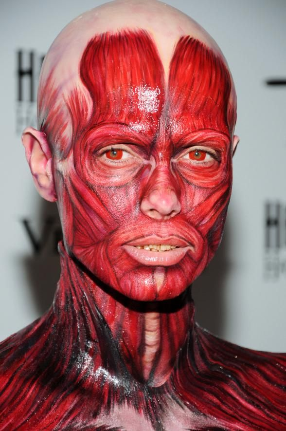 women body painting halloween | heidi klum donned her visible, Muscles