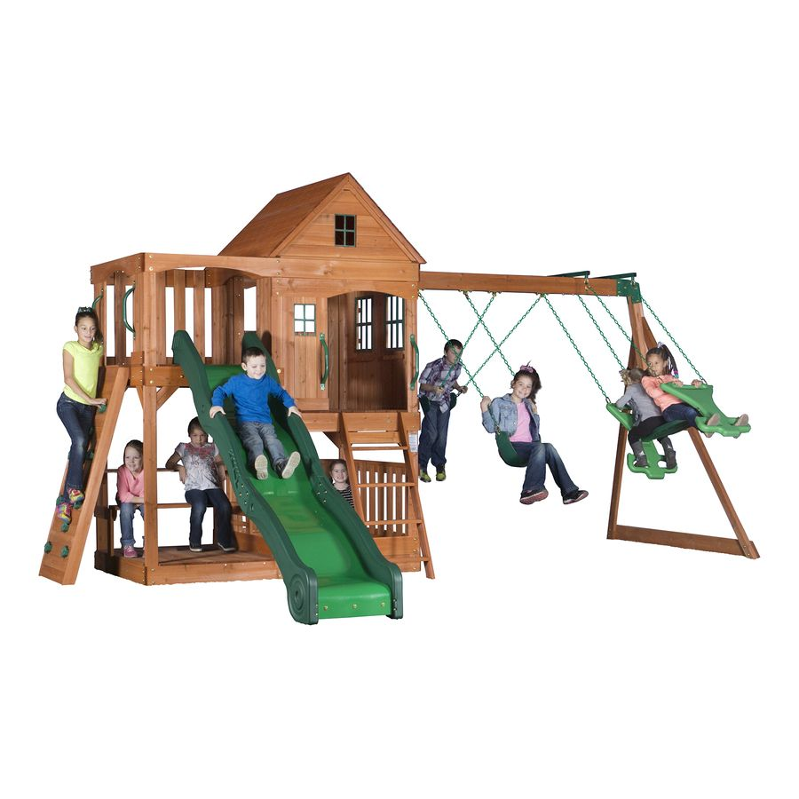 backyard discovery pacific view all cedar wood playset with swings