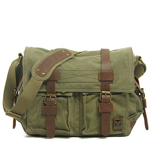 Peacechaos® Men Leather Canvas Shoulder Bookbag Laptop Bag + Dslr Slr  Camera Canvas Shoulder Bag d2d1030a80