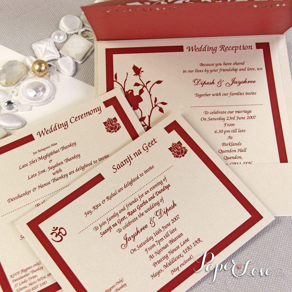 Asian Wedding Invitation, Laser Cut Ganesha On Cover, Names Bride ...