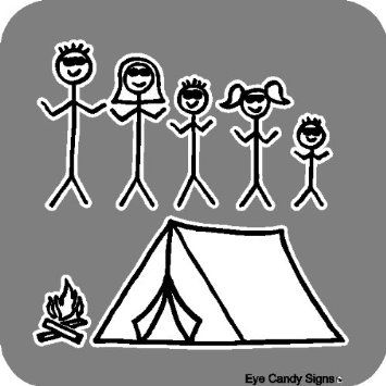Amazon.com: Camping Family Stick People Car Decals Graphics Stickers: Home  & Kitchen