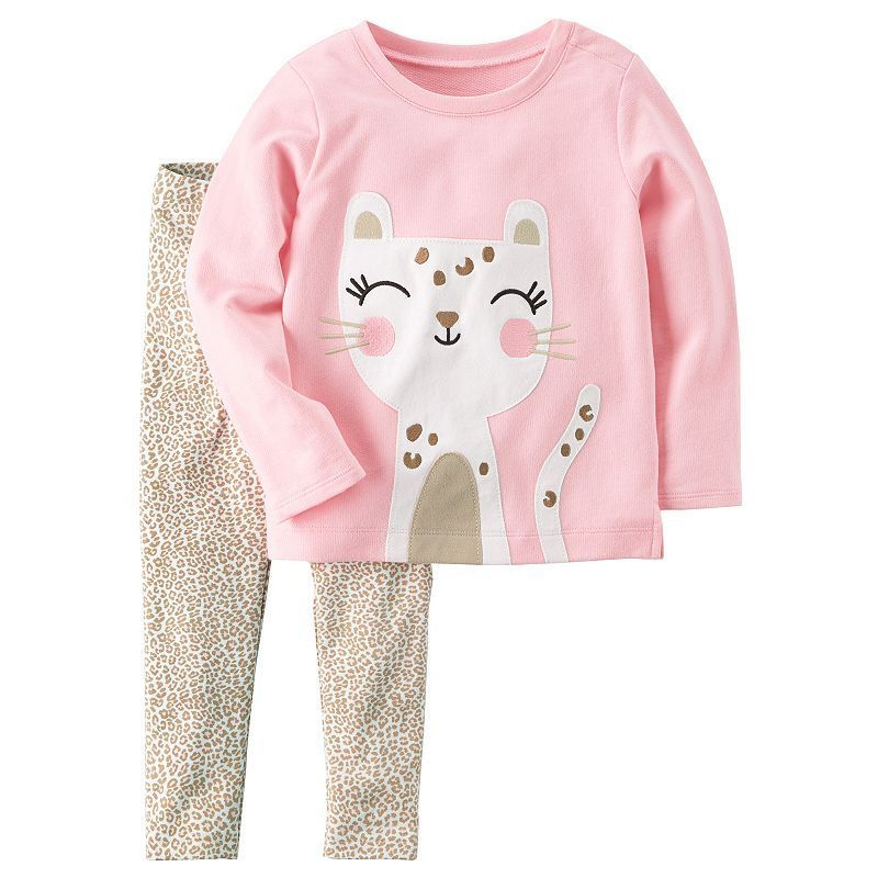 fa975d579e Baby Girl Carter's Embroidered Cheetah Top & Print Leggings Set in ...