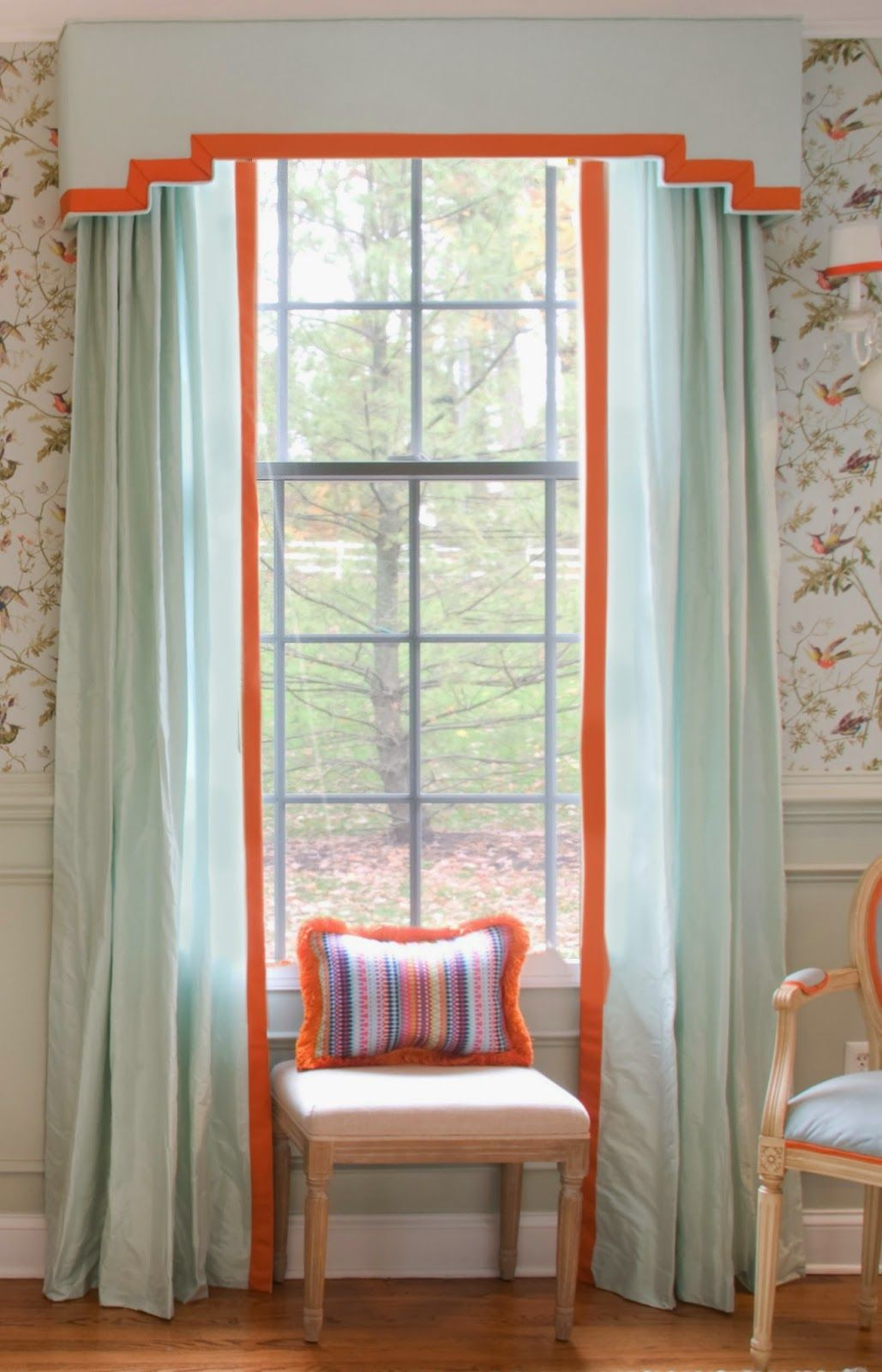Modern cornice board pale blue silk with orange trim one room challenge dining room reveal stephanie kraus designs