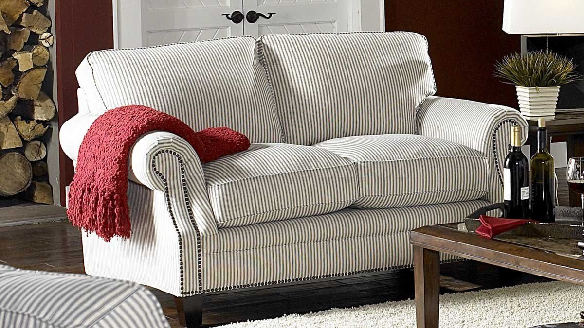 blue stripe sofas | White & Blue Striped Fabric Cottage Style Sofa &  Loveseat Set