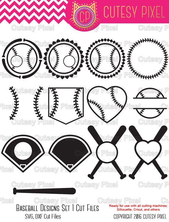 13 Baseball Monogram Frames Svg cutting file, baseball SVG, DXF ...