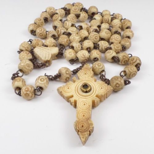 ANTIQUE CARVED COW BONE ROSARY BEADS WITH STANHOPE CROSS | Rosary, Cow bones,  Rosary beads