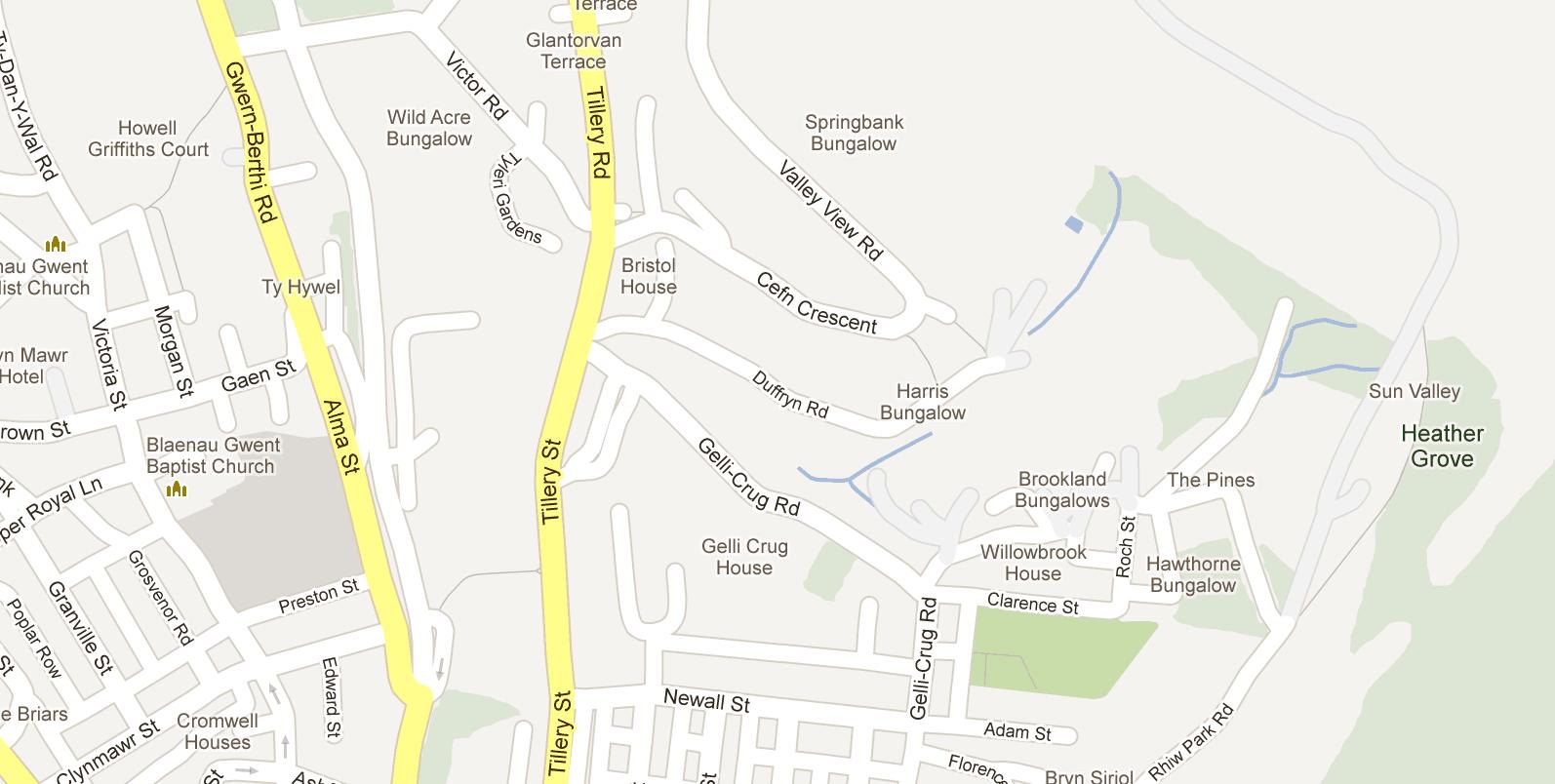 Street map Duffryn Road map Abertillery with Duffryn Road  Proud
