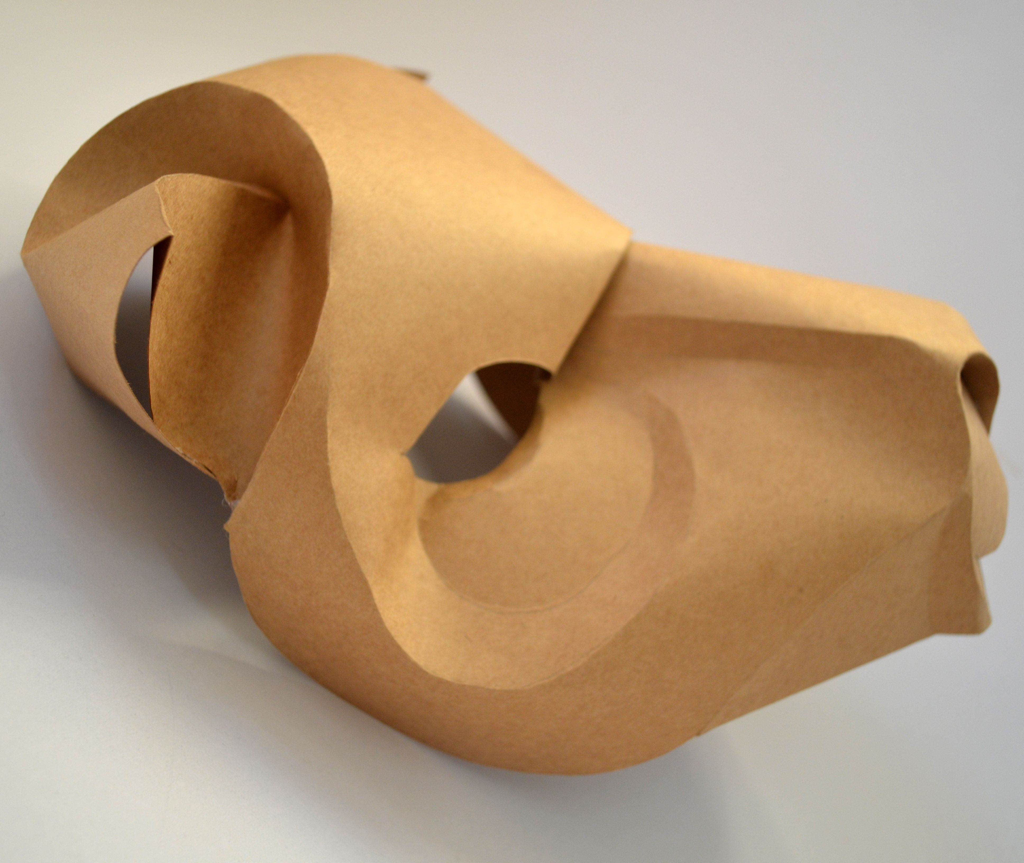 Lioness mask made by one piece of paper (side view)