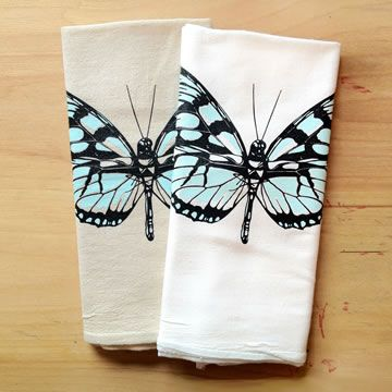 Awesome Beautiful Hand Printed Butterfly Kitchen Tea Towels By Little Lark