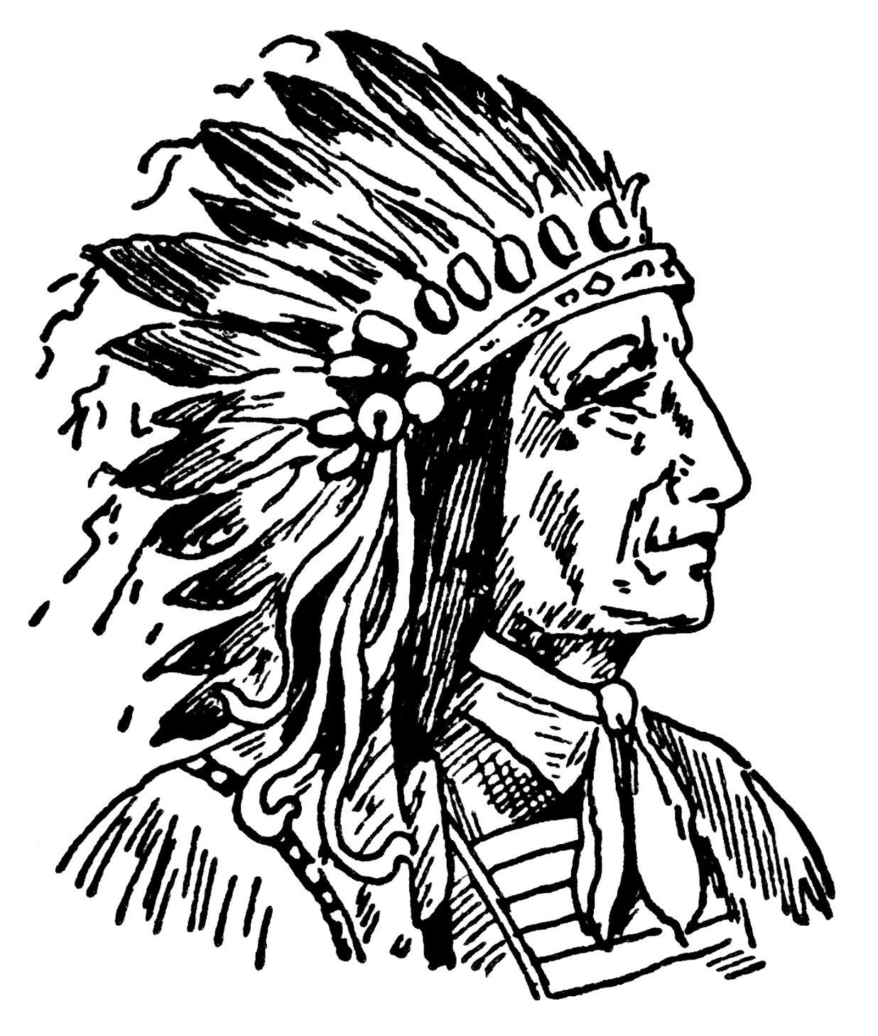 Indian Chief Clip Art Vintage Native American Illustration Black And White Clipart Warrior