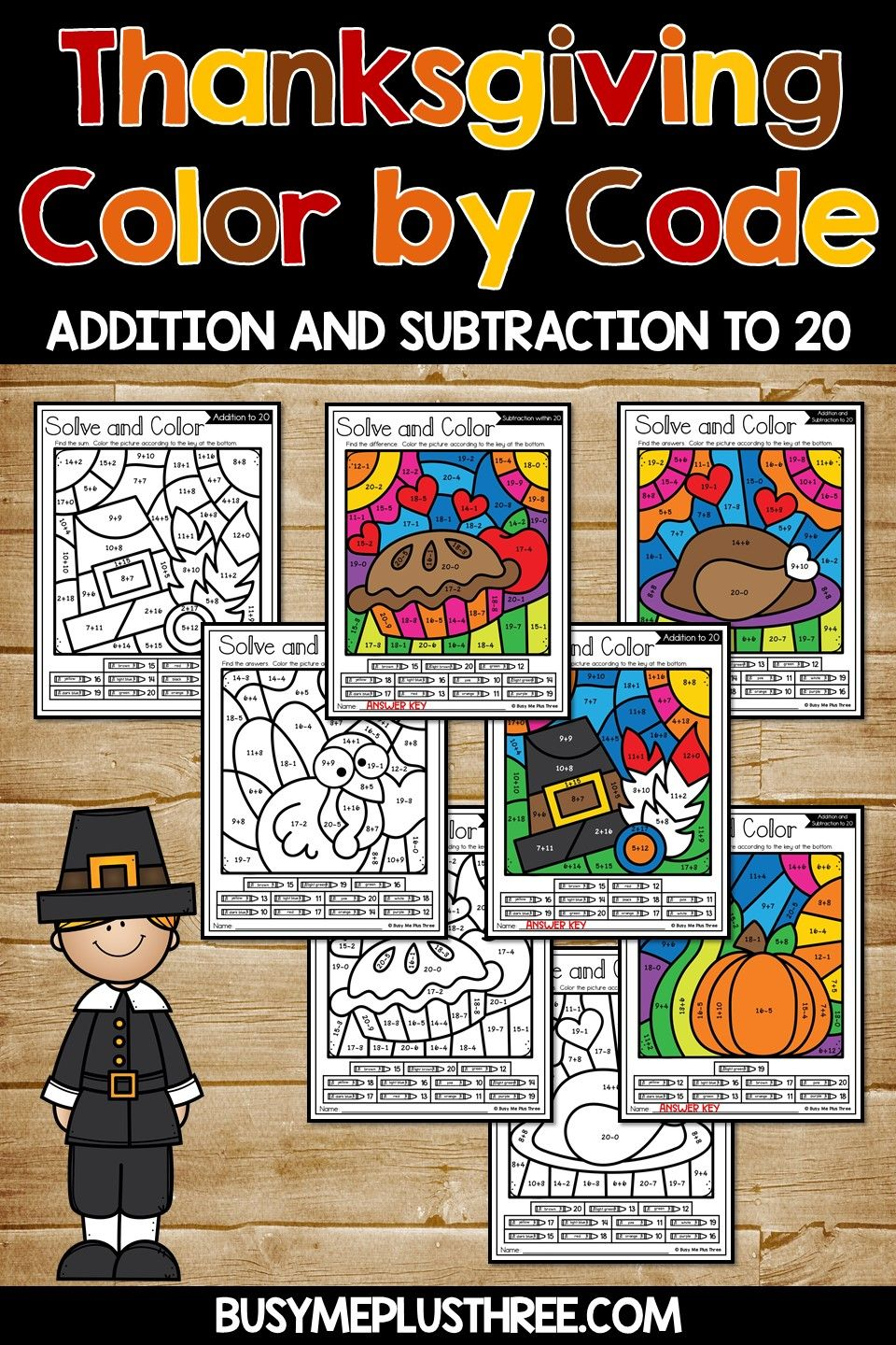 Color by Code Thanksgiving Activities {Addition and