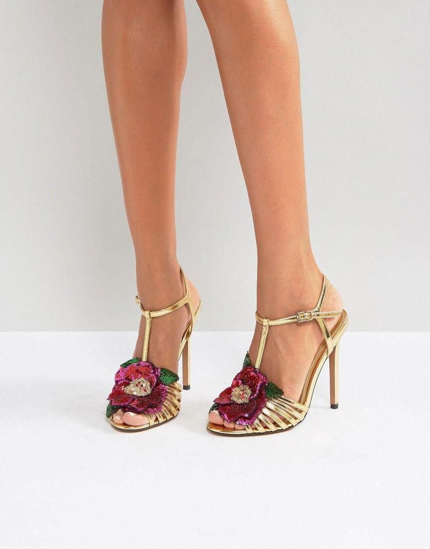 52e05dd677ba63 ASOS HONEY BLOOM Embellished Heeled Sandals - Gold  Promheels