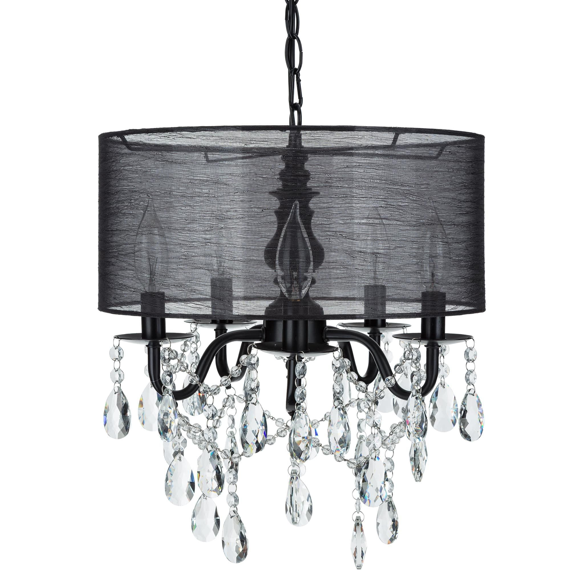 5 light crystal plug in chandelier with cylinder shade black 5 light crystal plug in chandelier with cylinder shade black luna collection arubaitofo Images