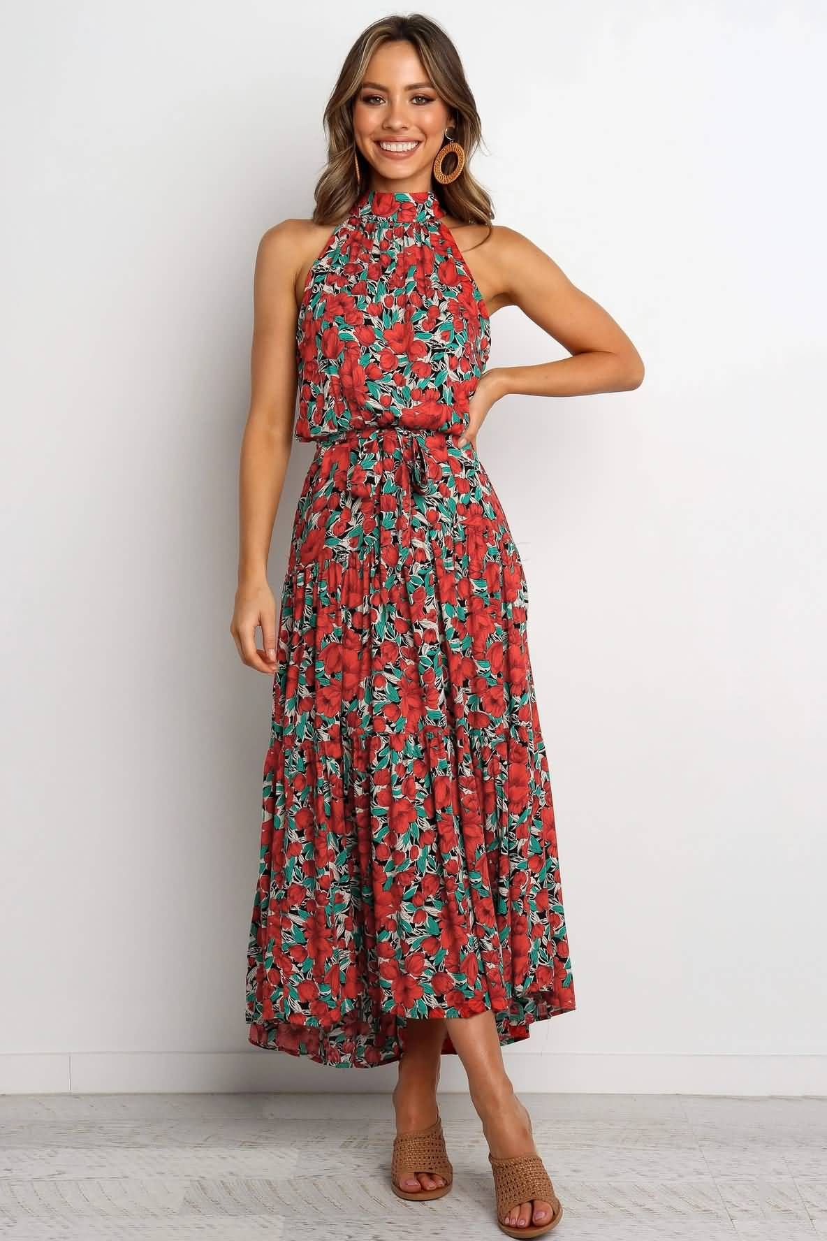 Red Maxi Sleeveless Casual Floral Print Dress Red Dress Maxi Dress Womens Maxi Dresses [ 1776 x 1184 Pixel ]
