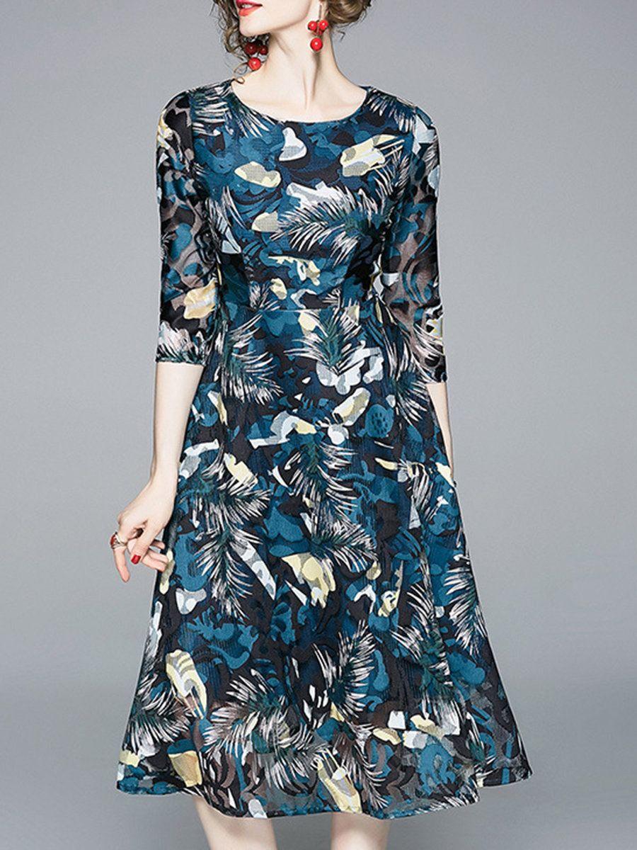 9907eaf543 Stylewe Summer Dresses Floral Dresses Date A-Line Crew Neck Elegant 3/4  Sleeve