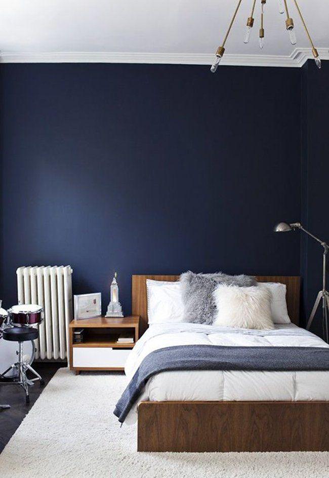 Charmant Chambre Elegante Scandinave Vintage Bleu Marine