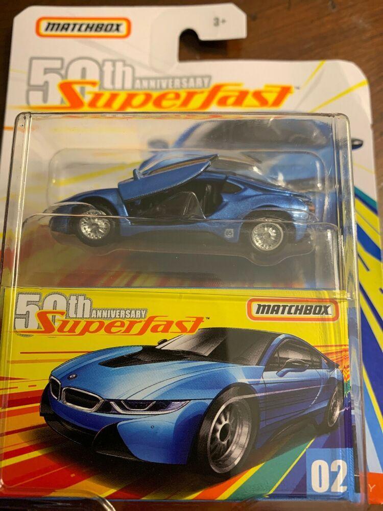 2019 Matchbox 2 2016 Bmw I8 Blue Car Superfast 50th Anniversary