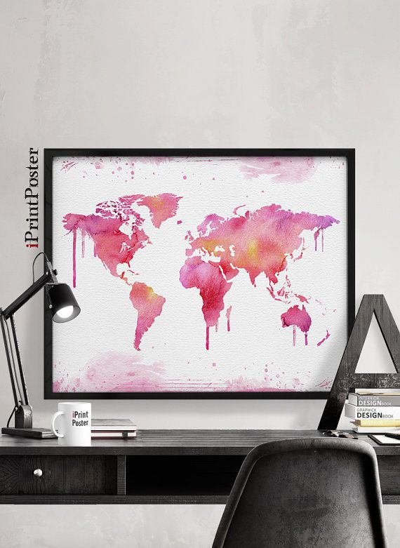 Travel map print world map watercolor painting by iprintposter travel map print world map watercolor painting by iprintposter gumiabroncs Gallery