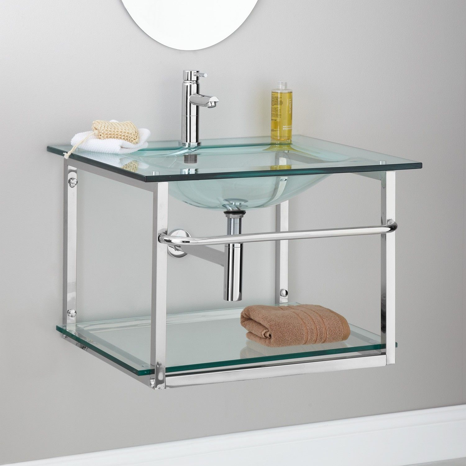 Zuri Clear Glass Wall Hung Sink With Stainless Steel Towel Bar