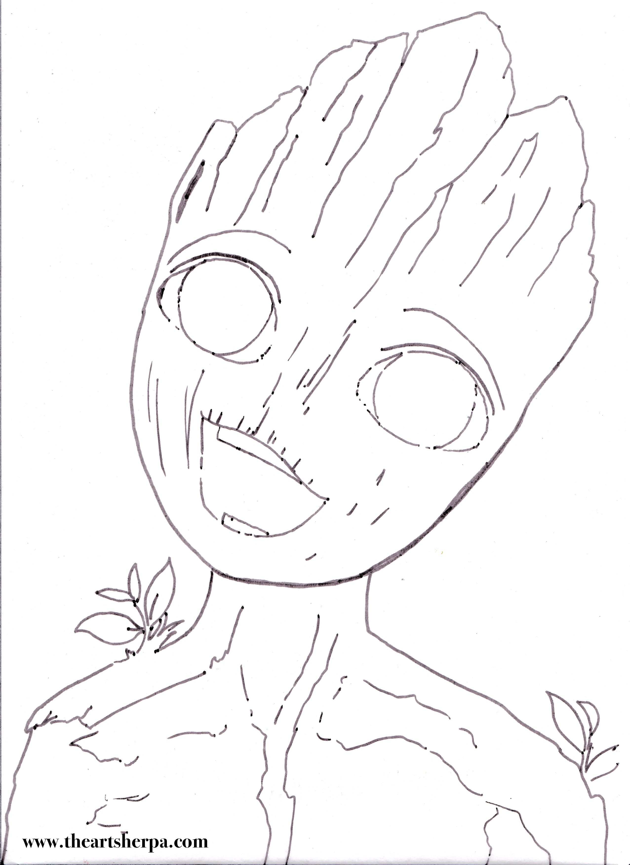Coloring pages youtube - Coloring Pages I Am Groot Baby For The Youtube Acrylic Art Sherpa Tutorial Www Theartsherpa Com