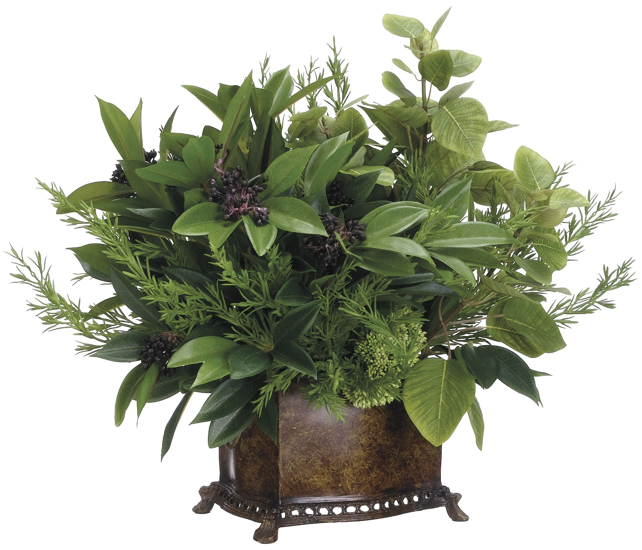 Lifelike Plants Lifelike Mixed Greenery Arrangement In Footed Decorative