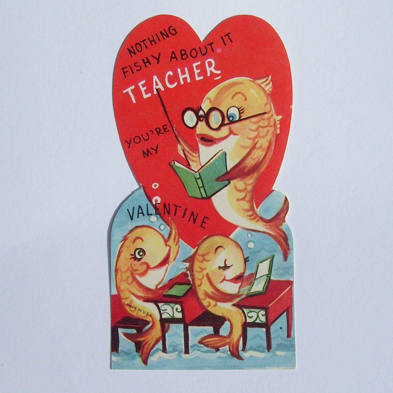 Vintage Valentine card school of fish  Valentines  Pinterest