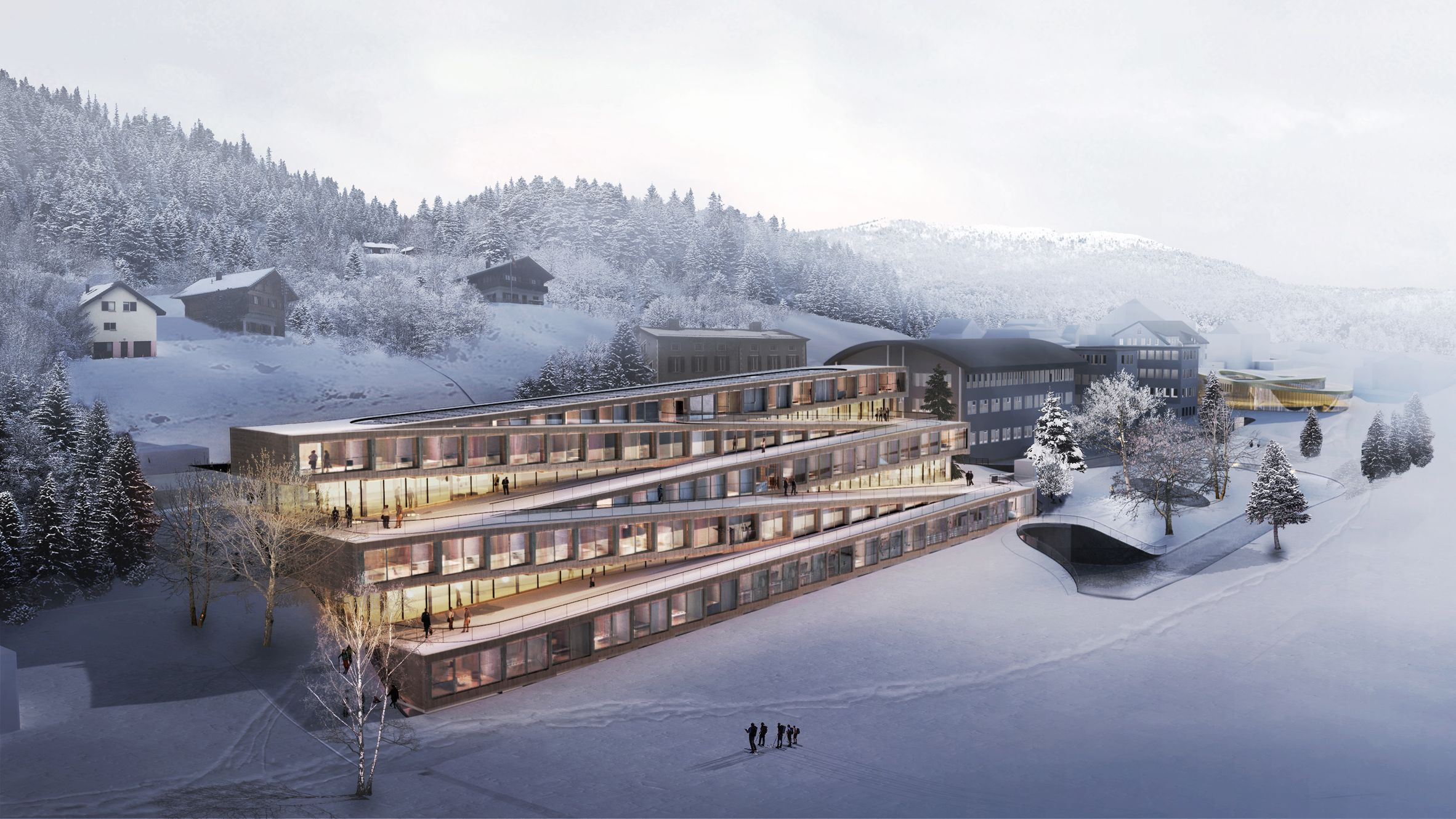 Guests Will Be Able To Ski Down The Zig Zagging Roof Of This Hotel By Danish Practice Bjarke Ingels Group Ski Hotel World Architecture Festival Hotel Exterior